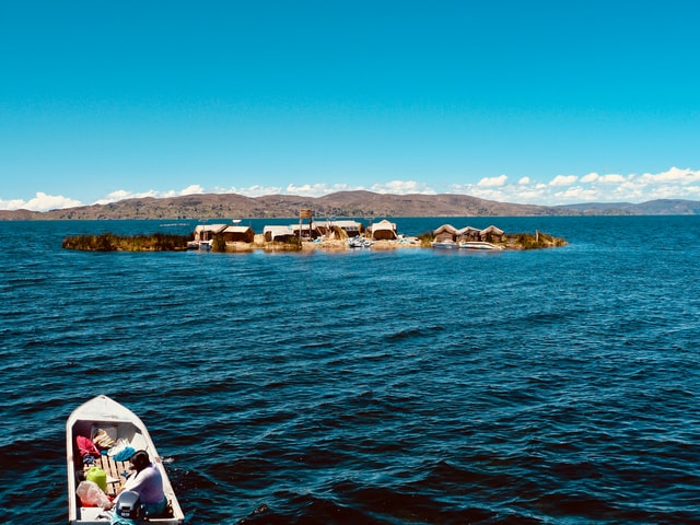Floating Uros Islands at the Lake Titicaca in Peru