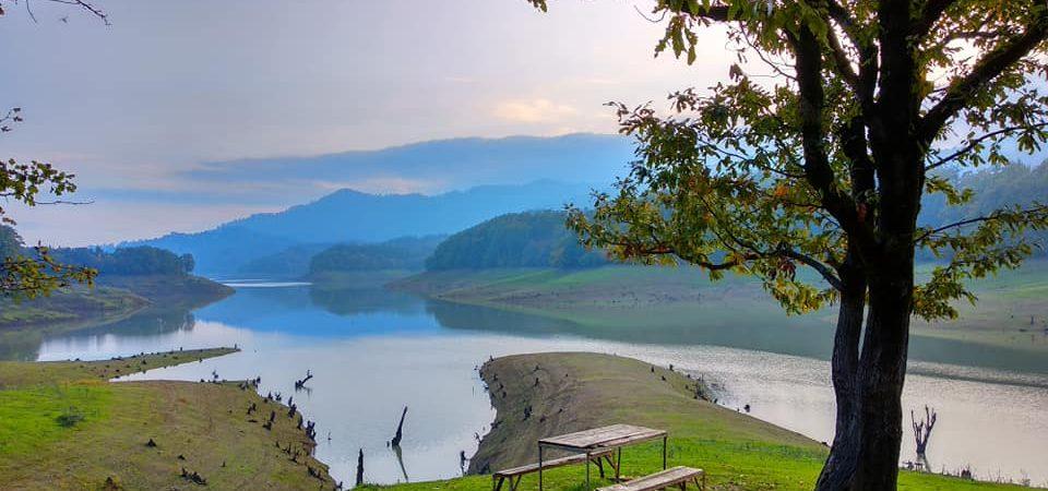 scenic lake, mountain, bench, tree