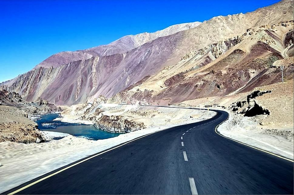 Road with snow mountain in Ladakh