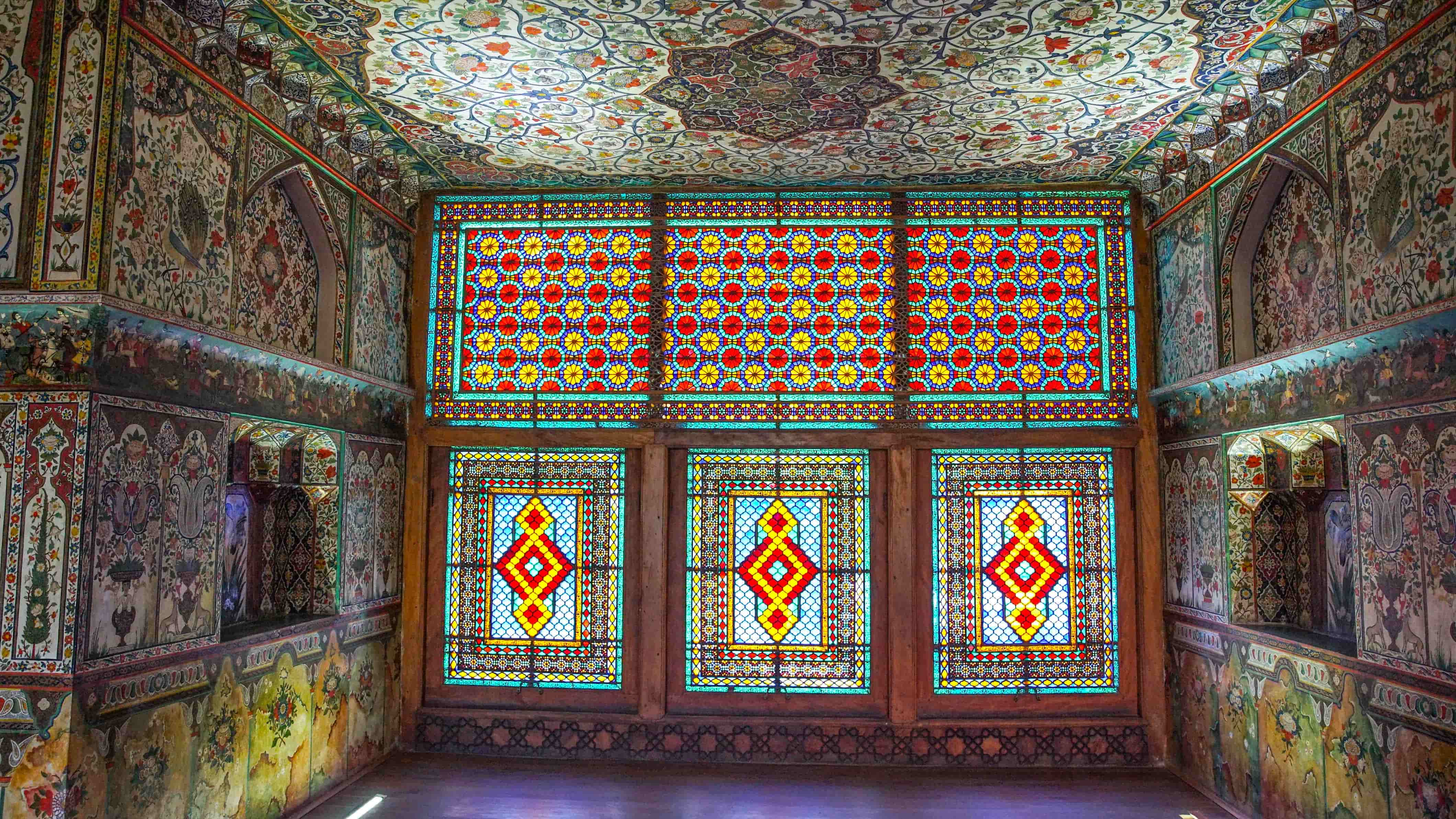 intricate mosaic tiles and glass