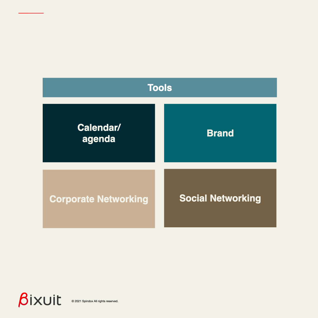 the first homepage concept organization is set on tools like a calendar, the branding, the corporate and social networking