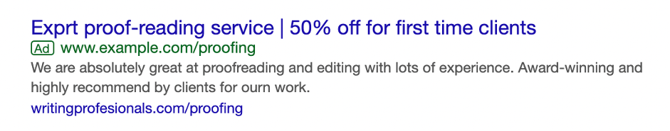 Check spelling in Google Ads