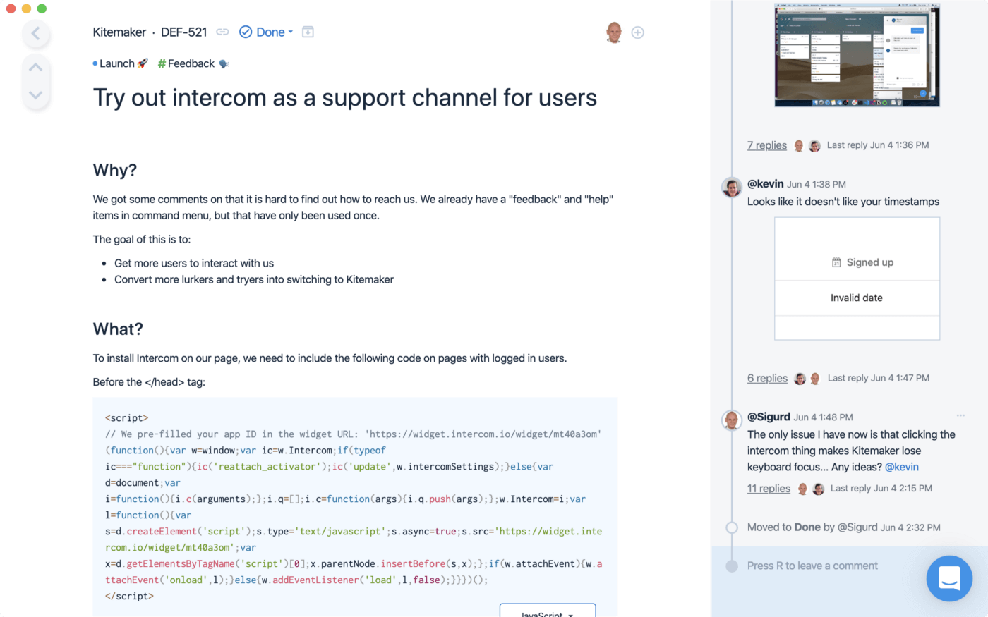 """A right sized element of work: """"Tryout intercom as a support channel for users"""""""