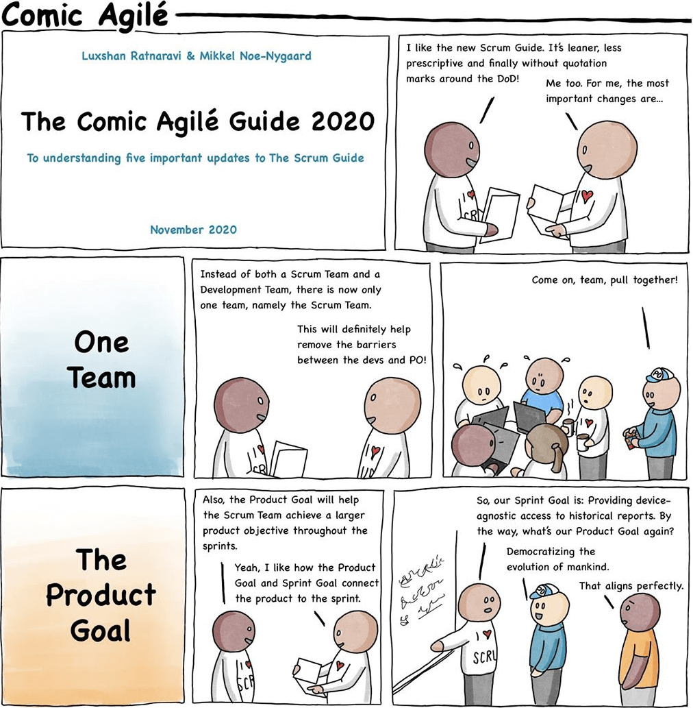 A comic describing the biggest changes in the new Scrum guide