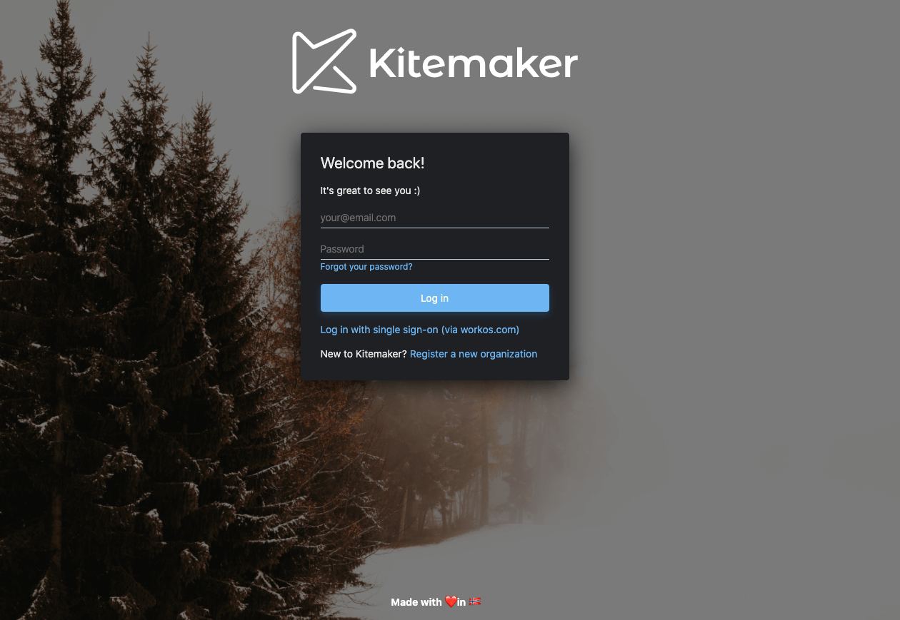 Image showing the login screen of Kitemaker, asking the user to enter their email and to create a password