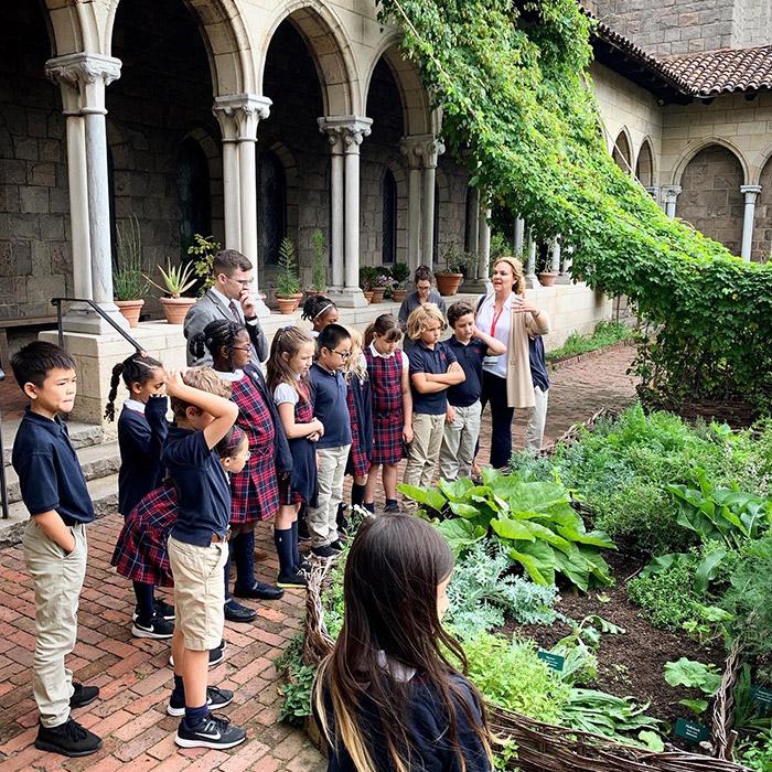 Geneva School students outside on field trip