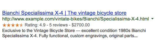 Image showing a search result enhanced by review stars using structured data.