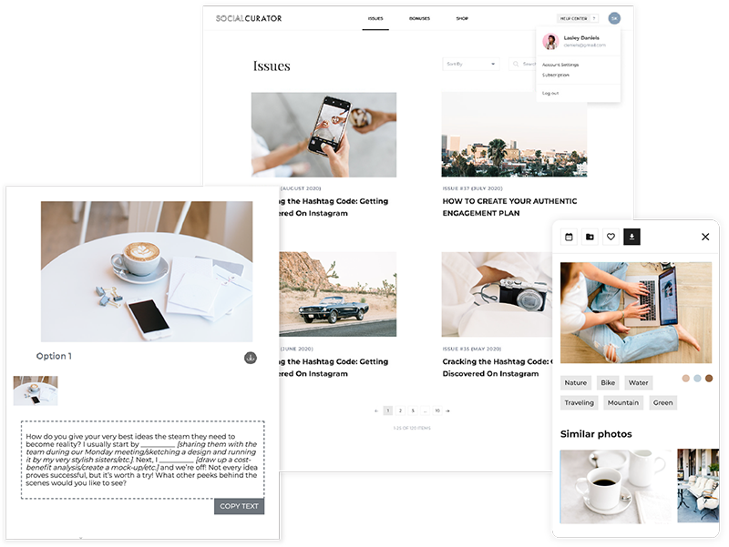 Social Curator resources and assets arranged on desktop, tablet and smartphone