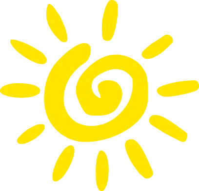 Vector illustration of a sun drawn as a swirl in the middle