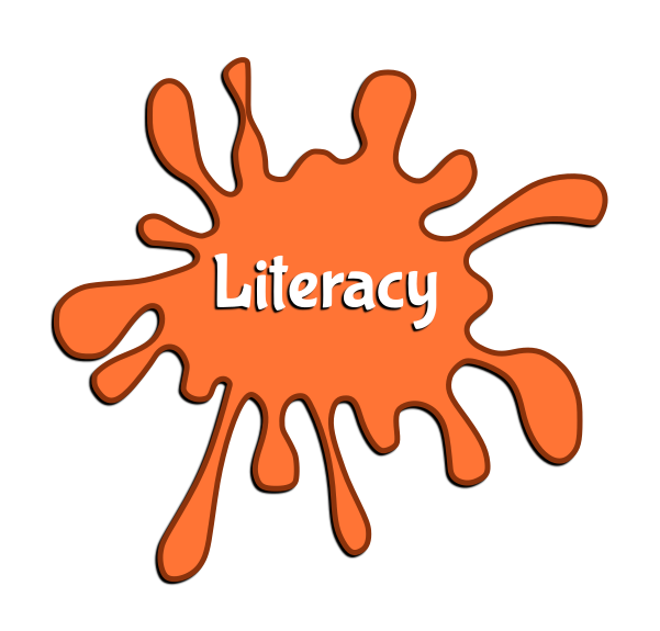"Orange paint splotch with the word ""Literacy"" in the middle."