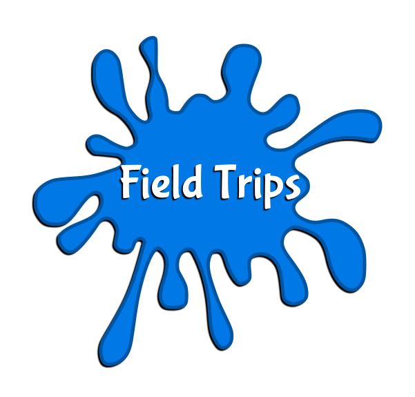 "Blue paint splotch with the words ""Field Trips"" in the middle."