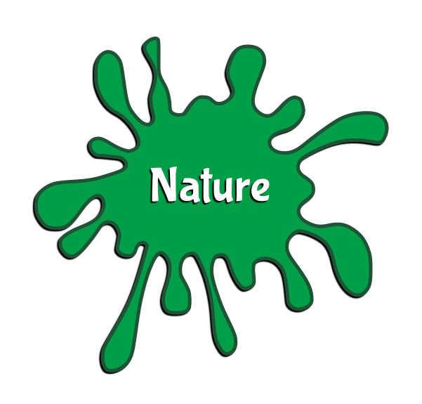 "Green paint splotch with the word ""nature"" in the middle."