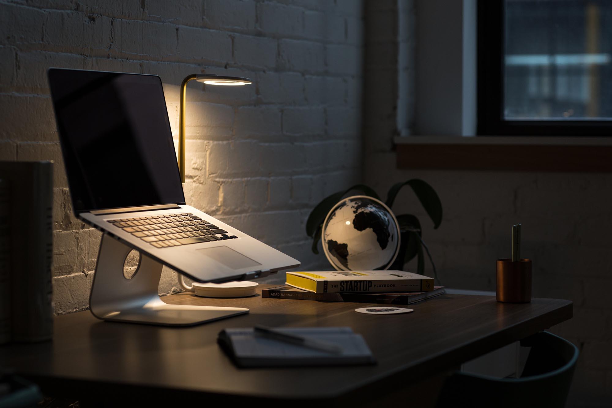 laptop working late night remote work