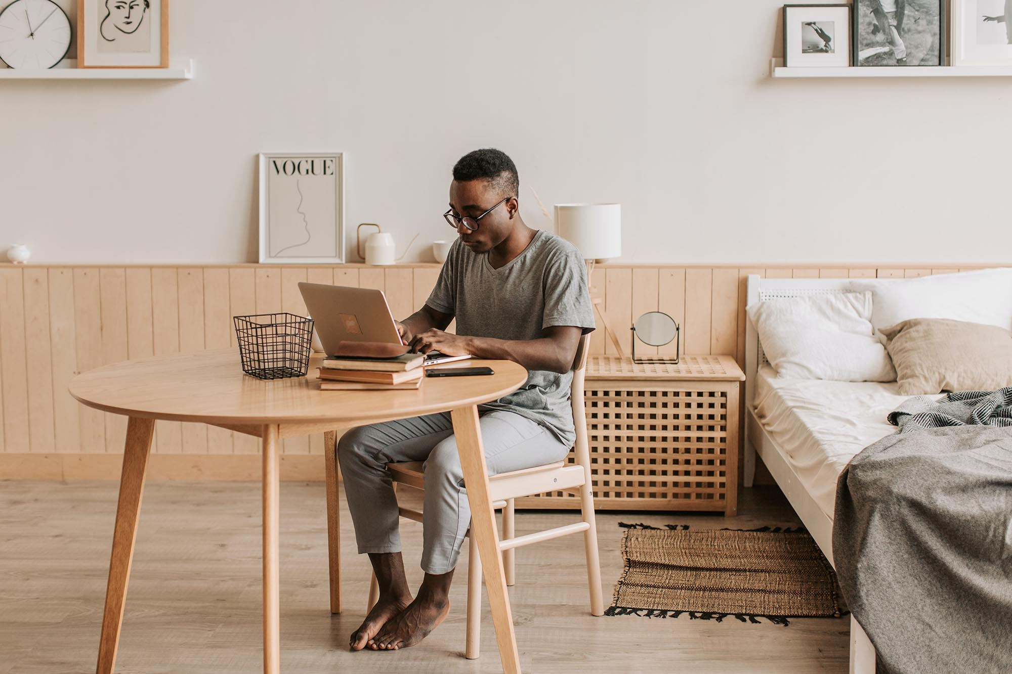 man working remotely from home