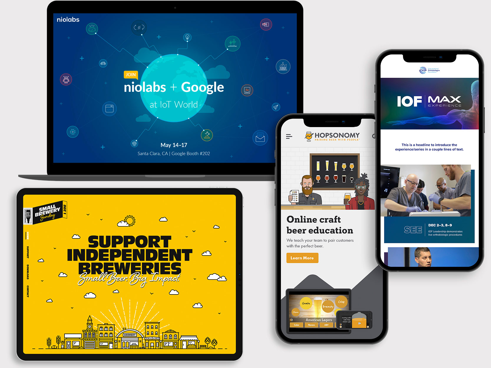 A collage of an email newsletter, mobile website, tablet and desktop website