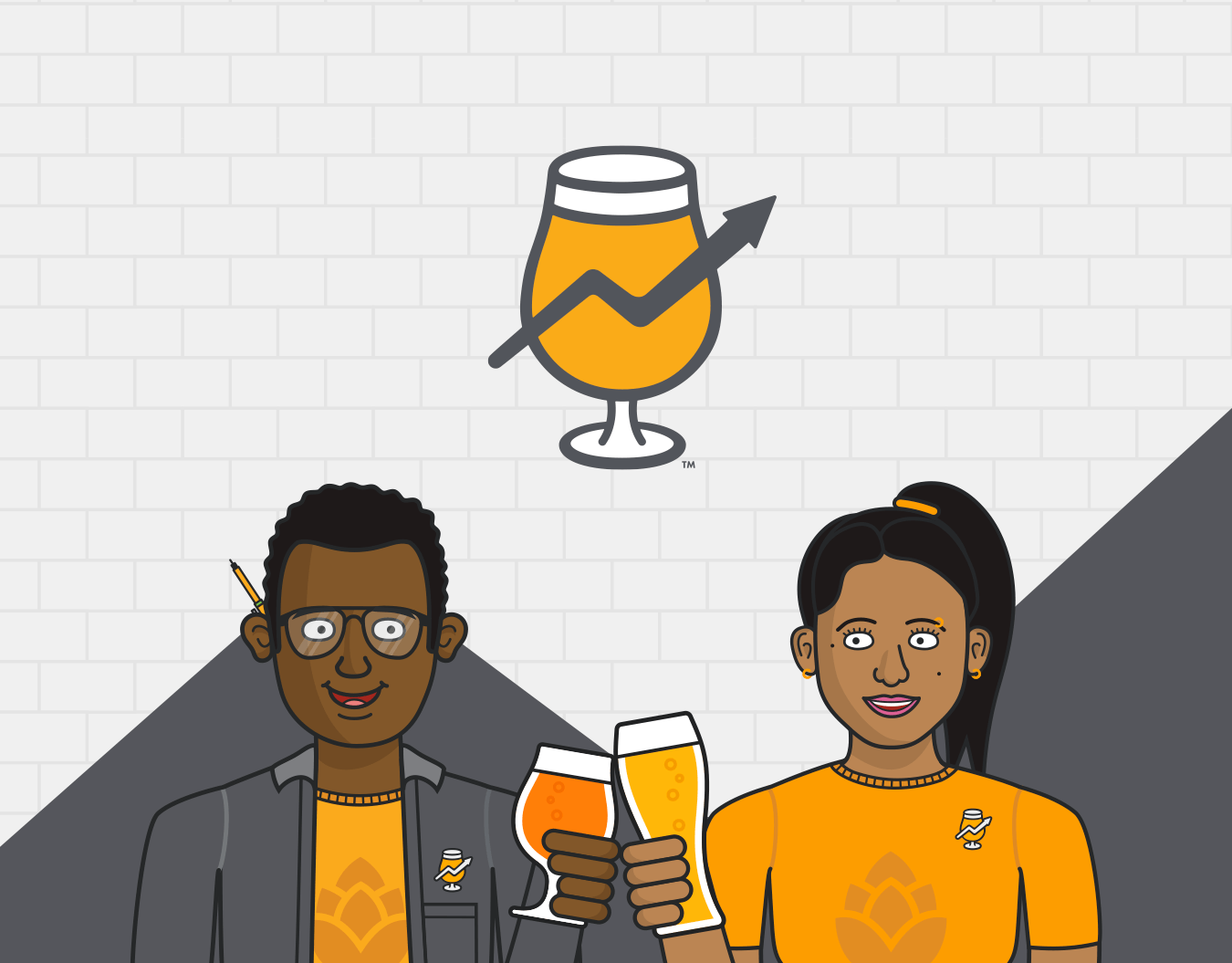 An illustration of two people cheersing with the Hopsonomy logomark above them