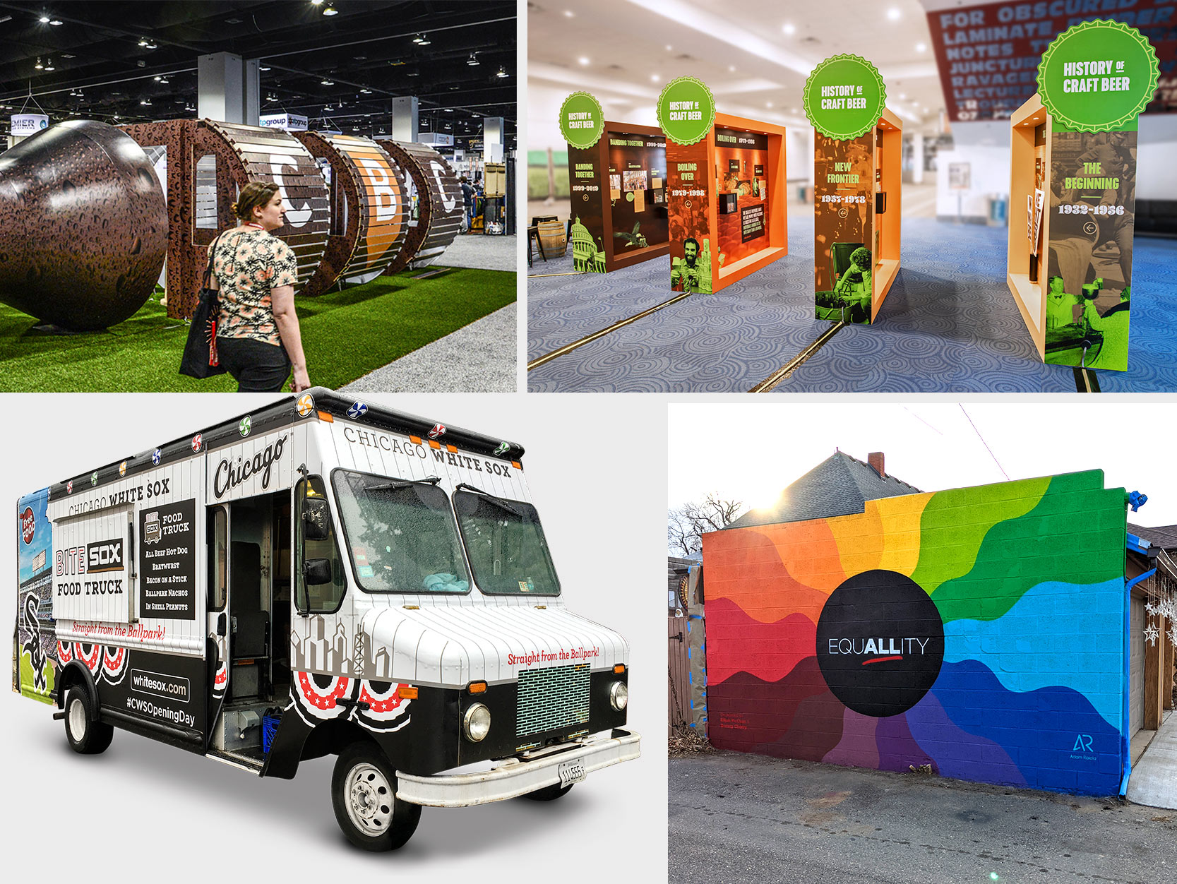 Four examples of environmental graphics including a food truck for the Chicago White Sox and a History of Craft Beer exhibit.