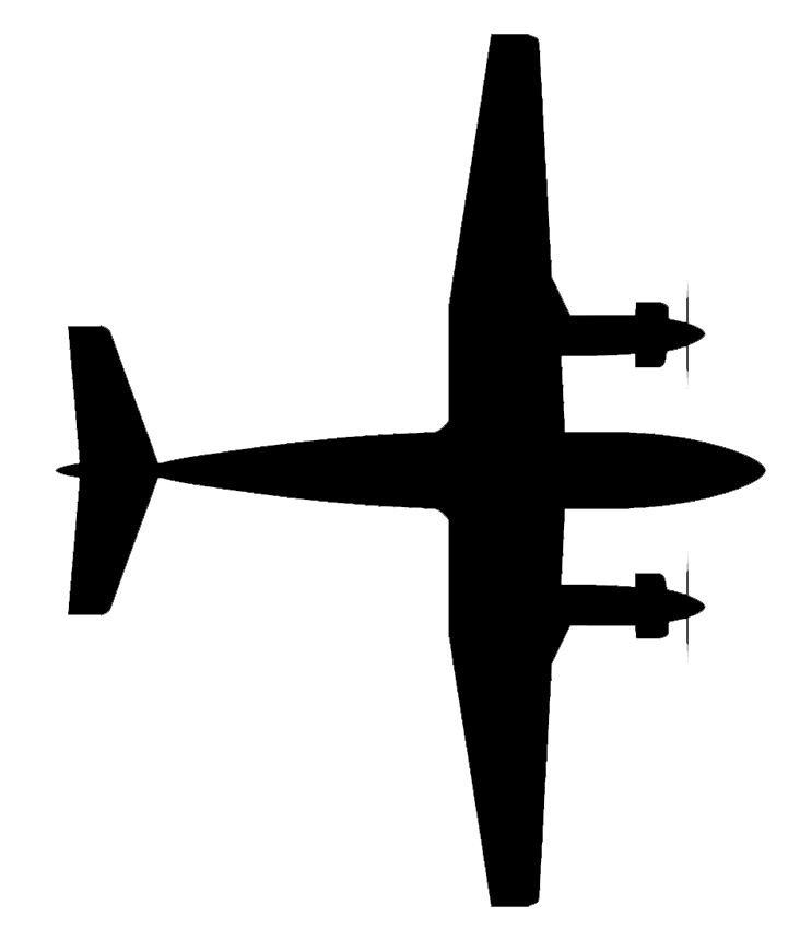 Kingair silhouette birdseye view
