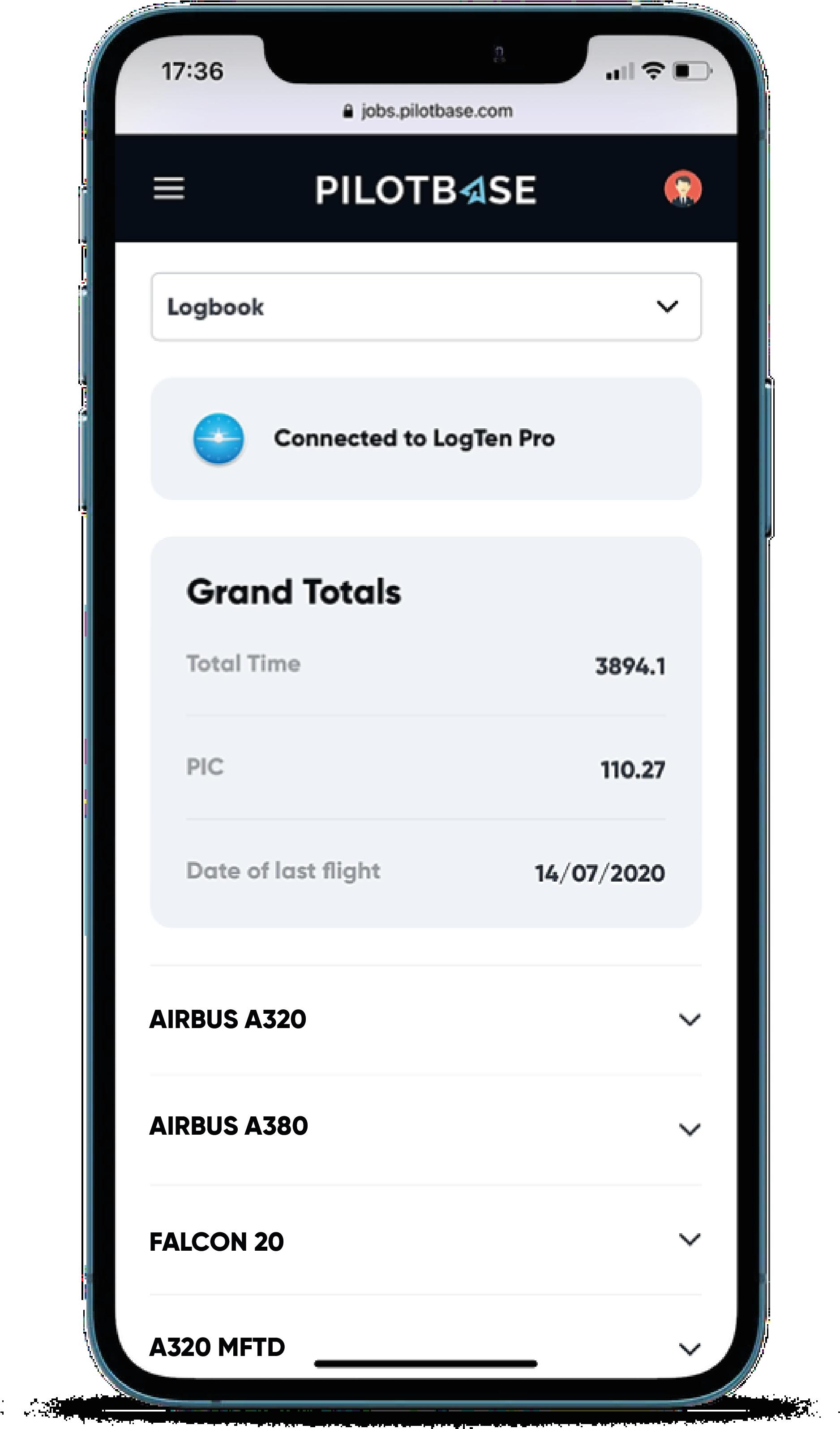 Pilotbase Pilot Profile Screen on iPhone, linked to LogTen Pro