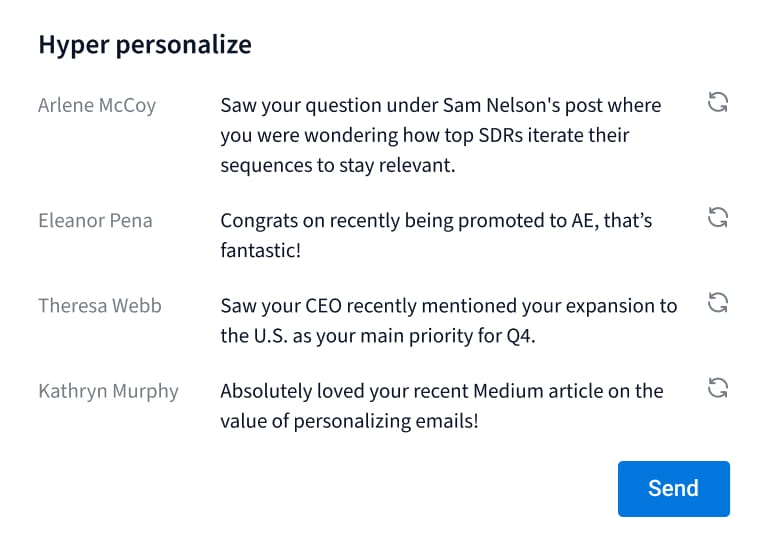 UI of creatext displaying personalization of your email for every recepient.