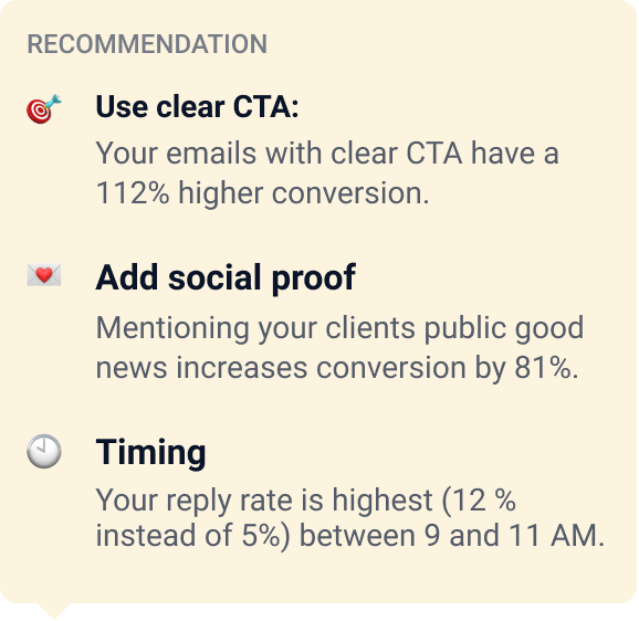 UI of Creatext showing suggestions how to improve your emails writing