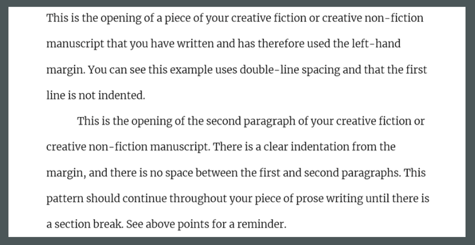 A brief example of how to format prose writing following the set out guidlines.