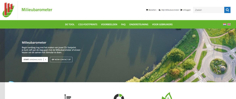 Homepage van Milieubarometer.nl waar je je CO2-uitstoot van je bedrijf kunt bijhouden