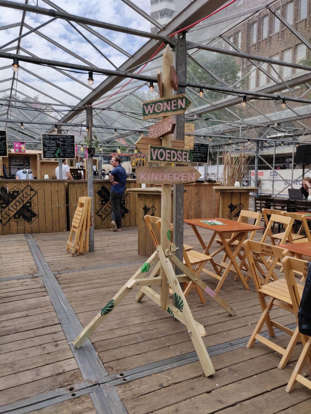 Tijdens de Duurzame Week Utrecht stond een door de PlaatPraters gemaakte wegwijzer op het evenement