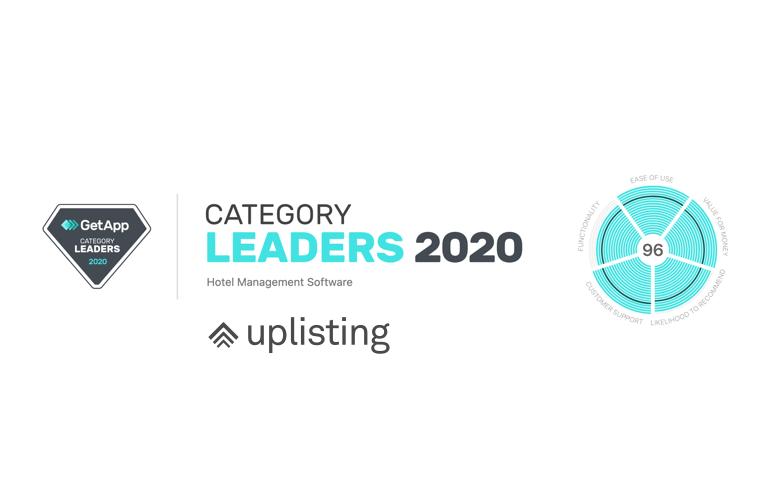Uplisting named Category Leader for Hotel Management Software by GetApp