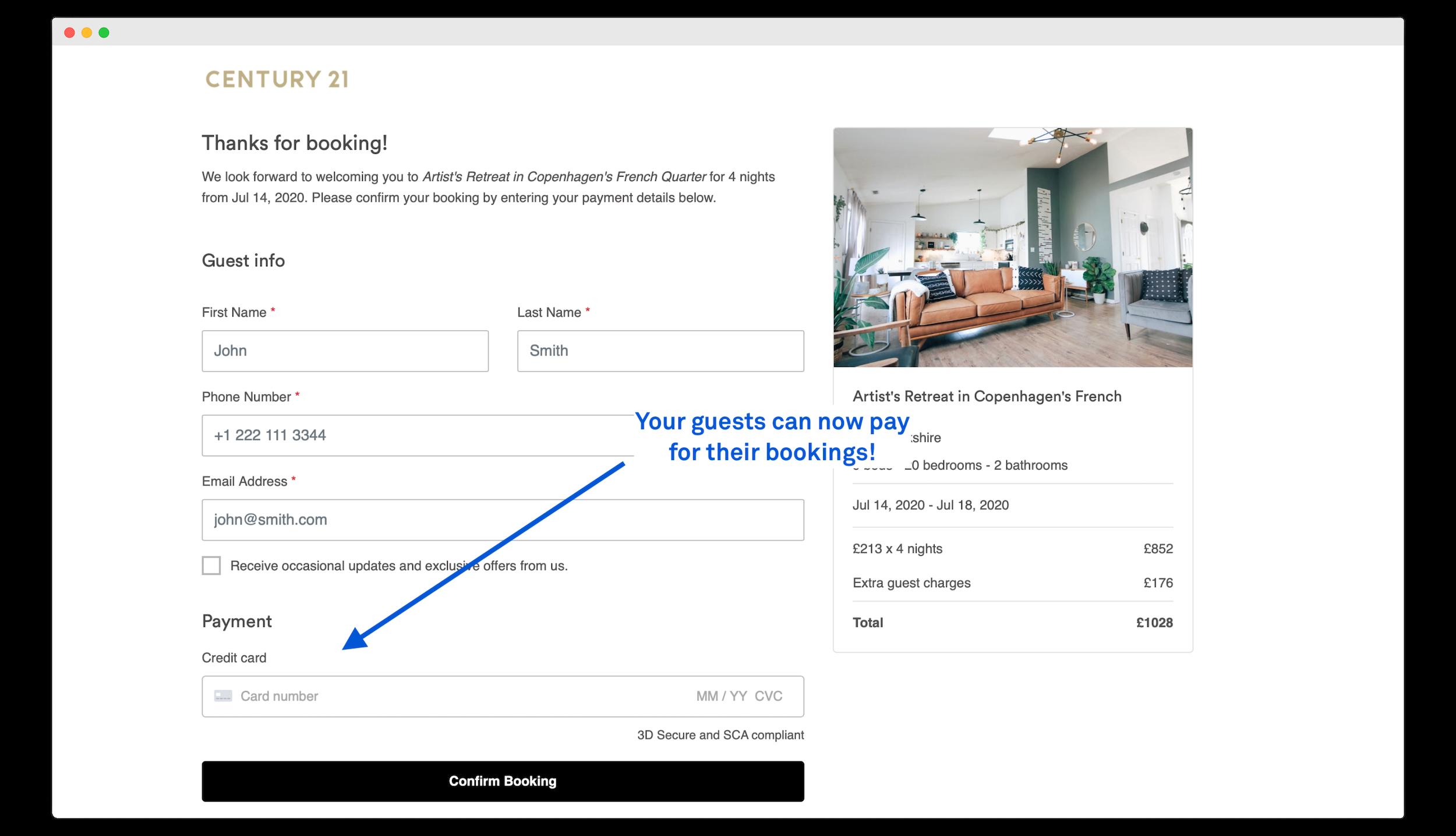 Guest payment screen