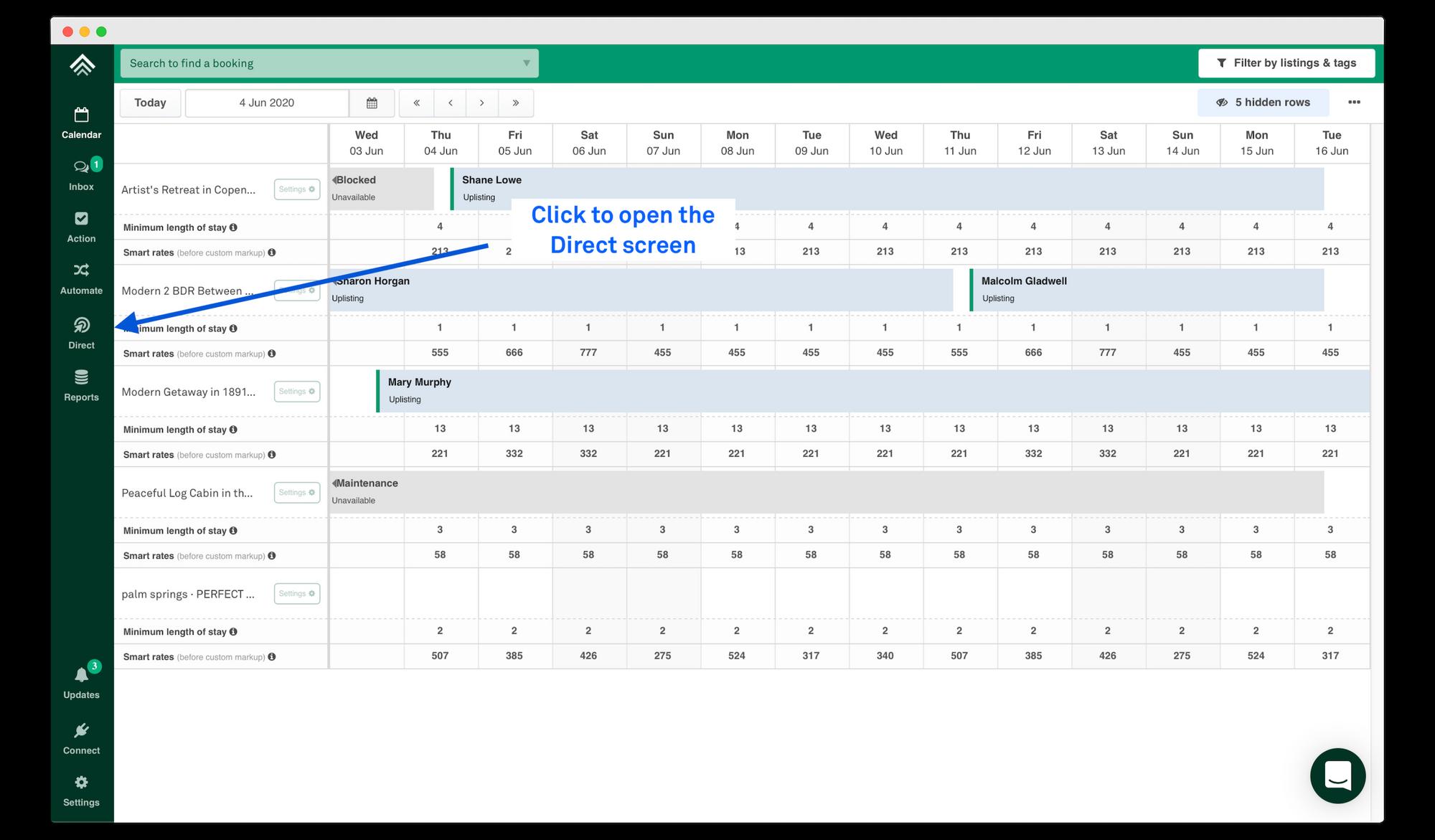 Direct booking engine setup screen