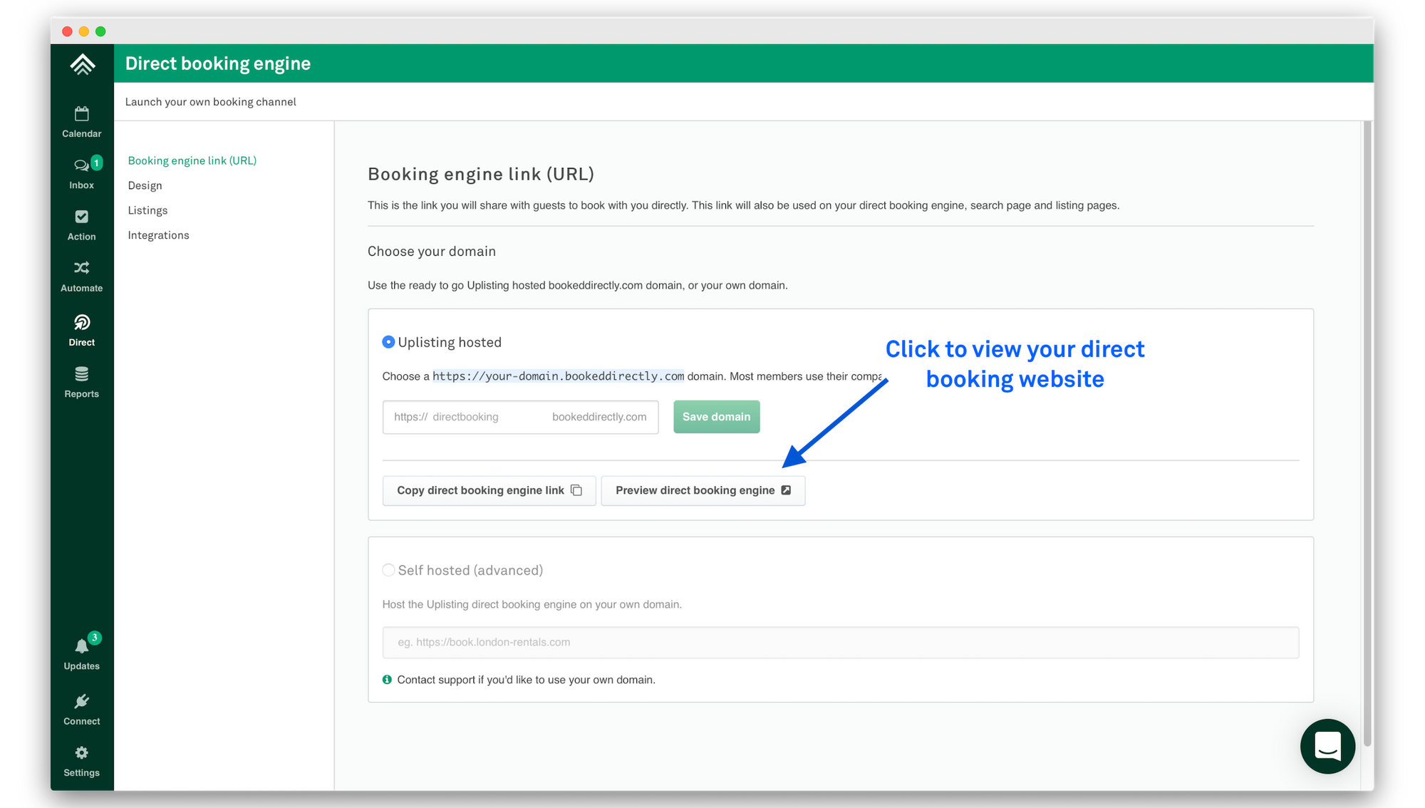 Preview direct booking engine