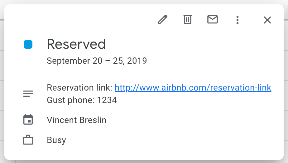 Information included in new Airbnb iCal events