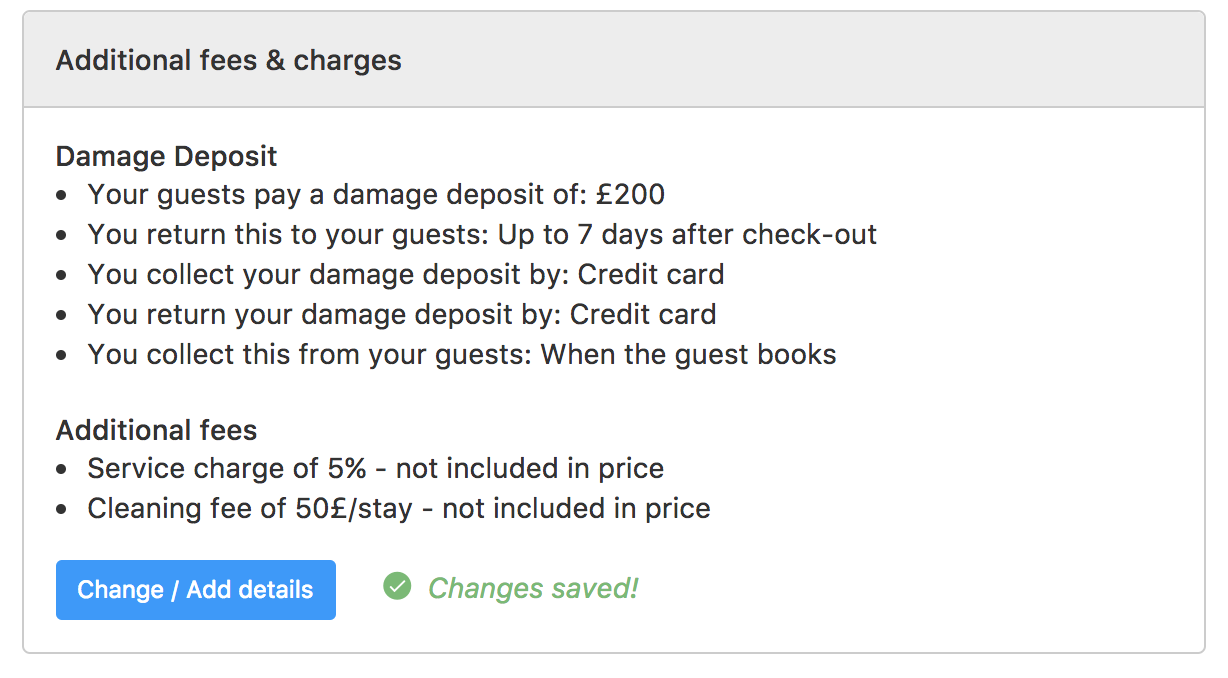 Damage deposit and additional fees I use on my Booking.com listings