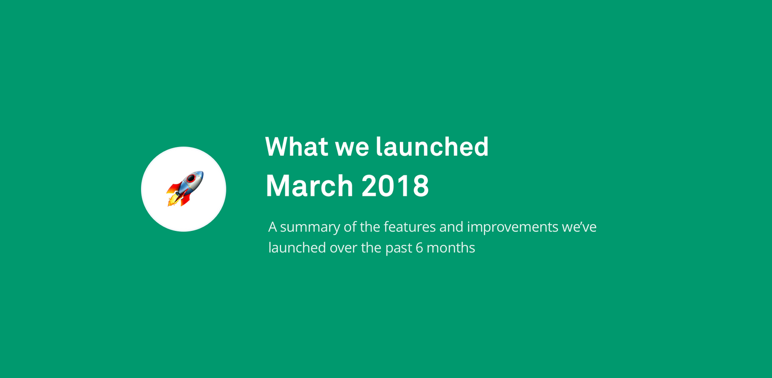 What we launched: up to March 2018