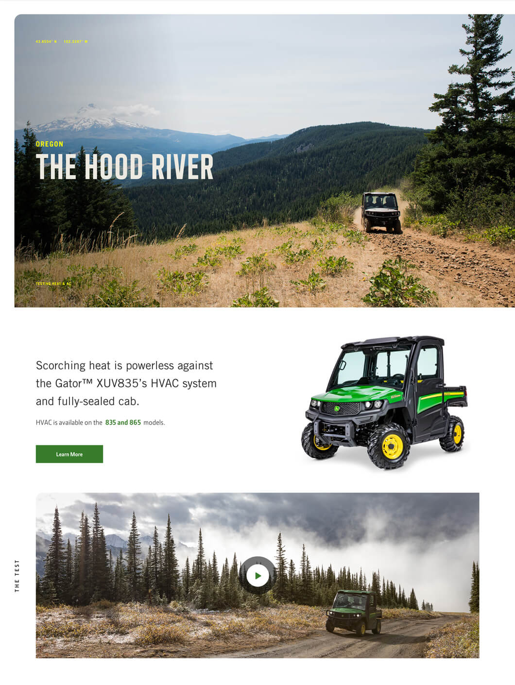 A landing page detailing an excursion for the Gator in the Hood River valley