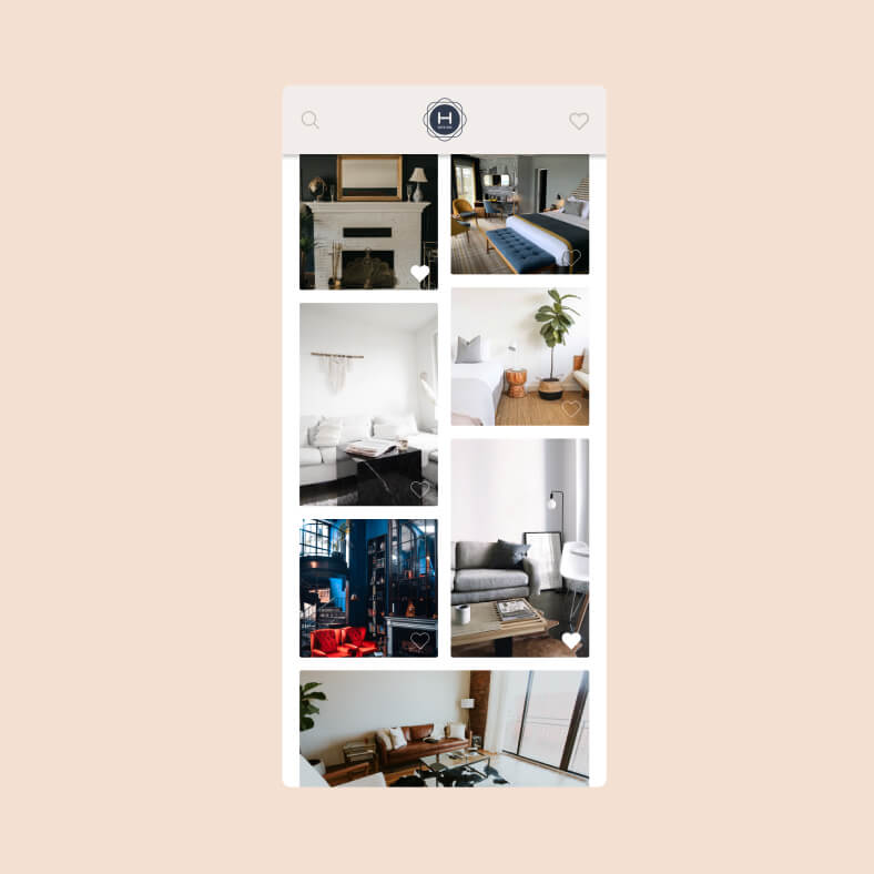A mobile view of a pinterest style feed for Havertys