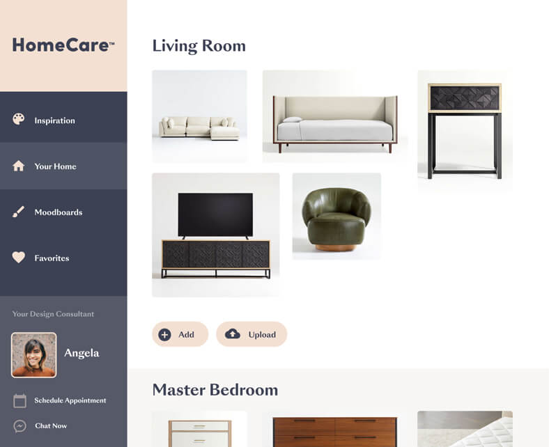 An interface designed for Havertys