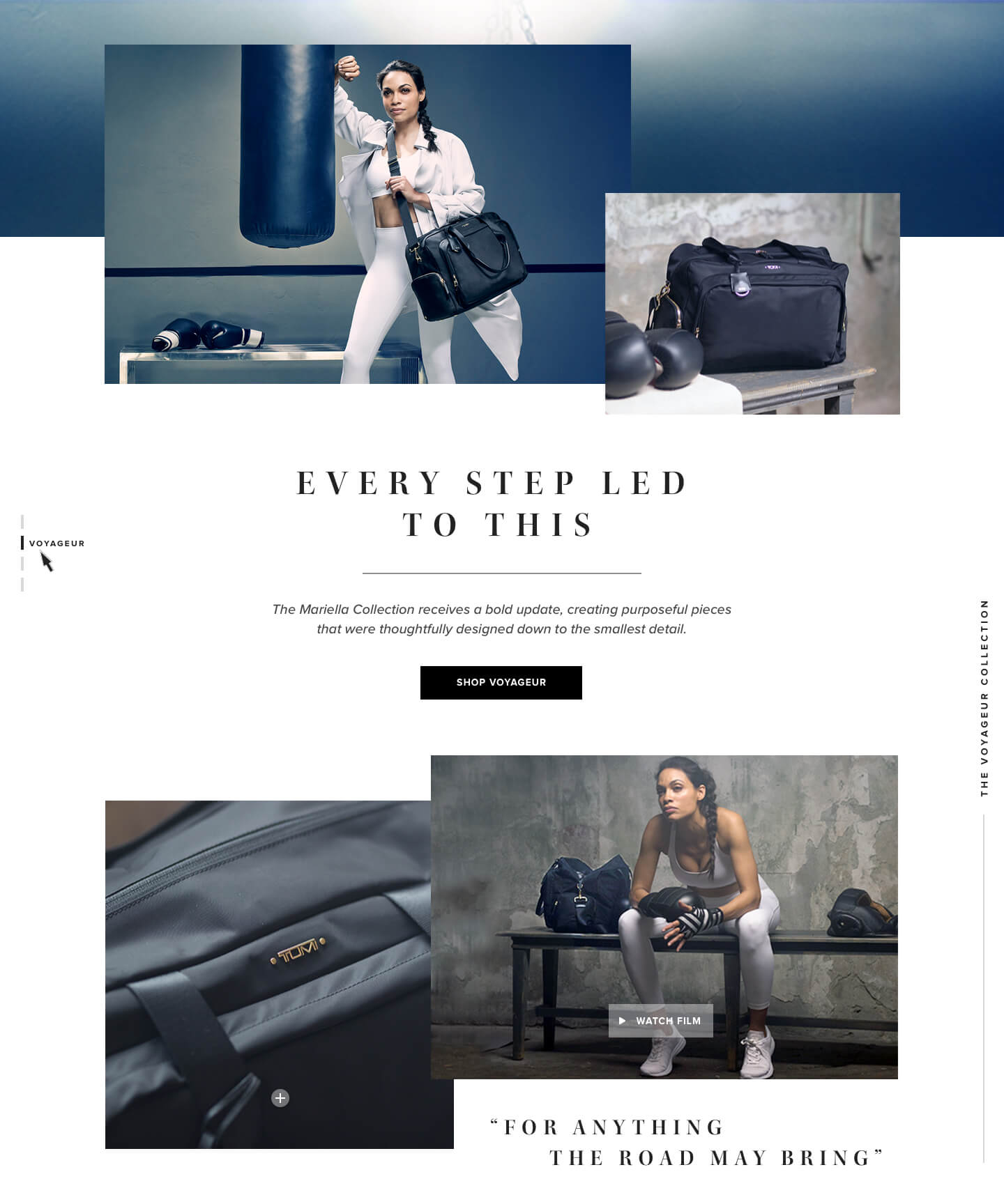 A collection landing page for the Tumi Women's collection