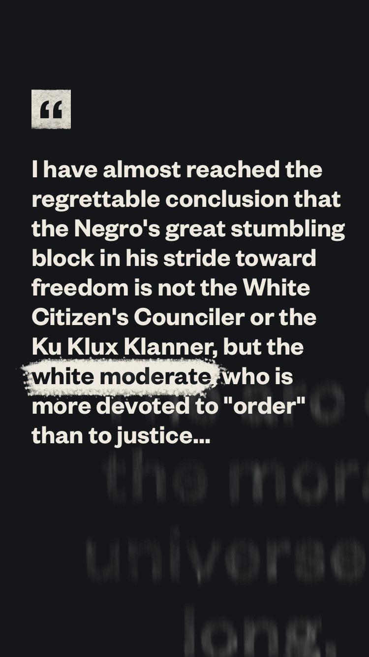 A mobile view of a typographic quote from MLK