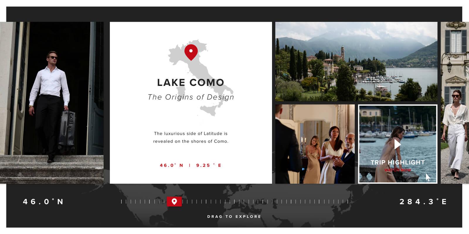 The interactive journey hub designed for the Tumi Latitude campaign