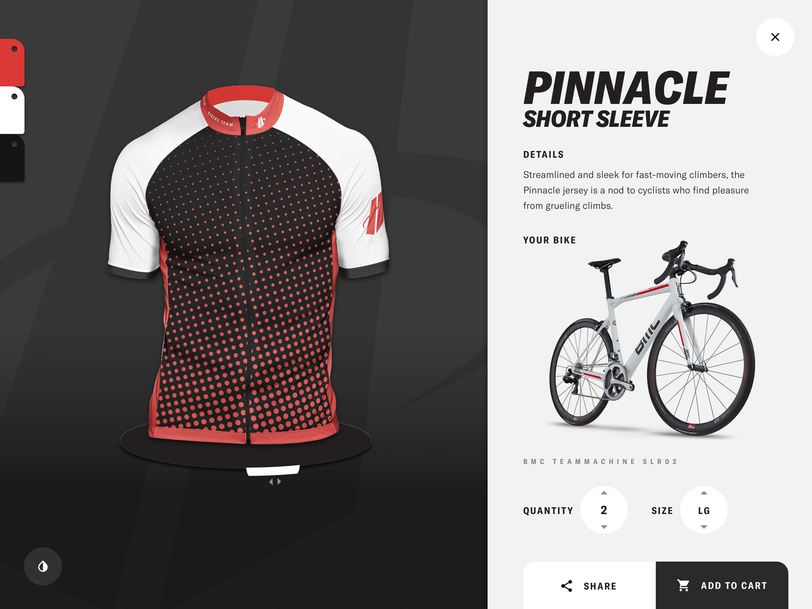 A view of the Hincapie Custom Kit Designer that shows the jersey you've designed