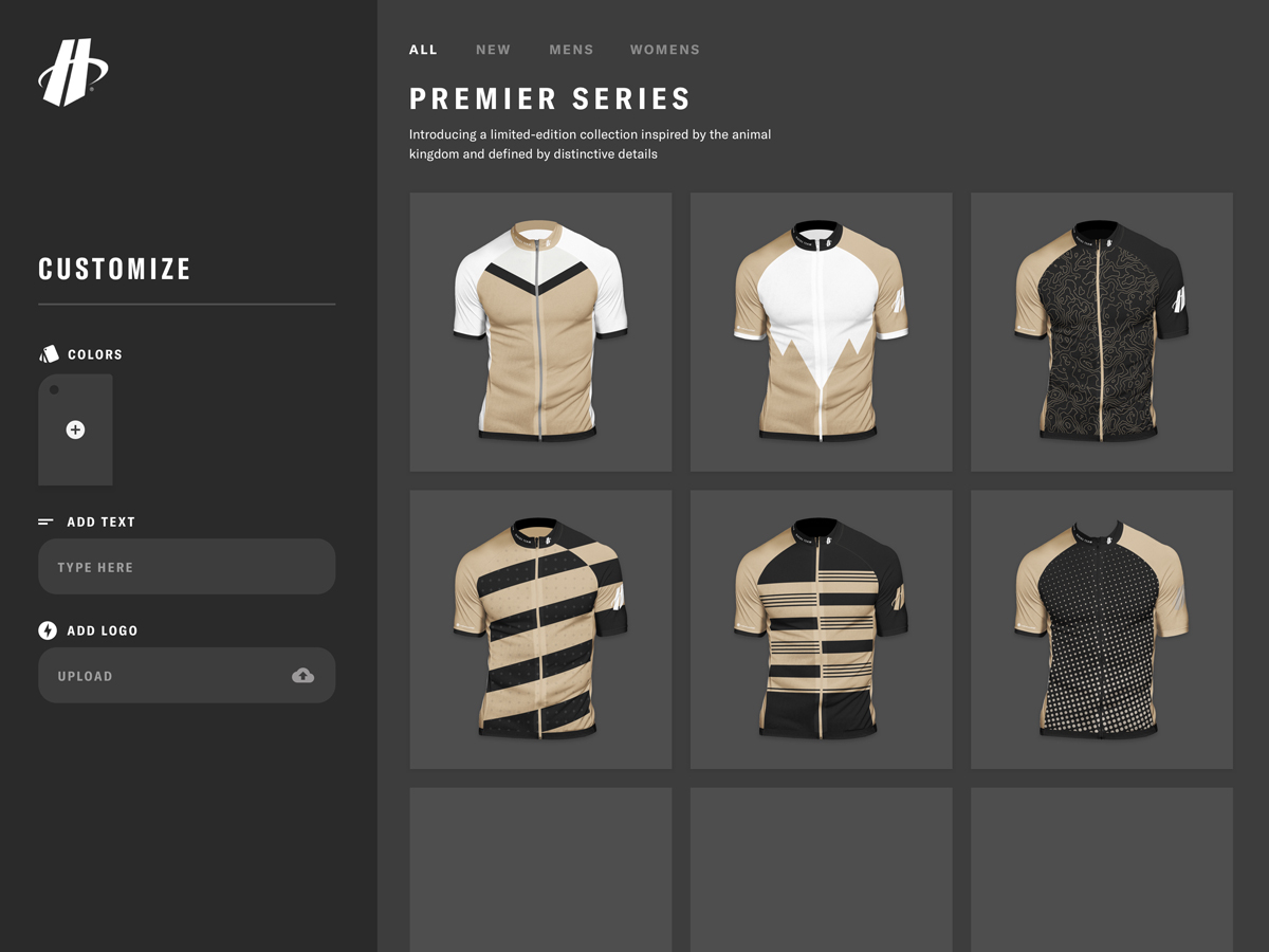A view of the Hincapie Custom Kit Designer that shows the customizer view