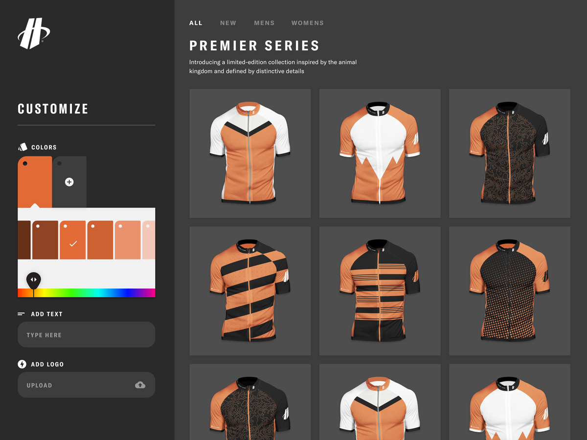 A view of the Hincapie Custom Kit Designer that shows the intelligent color picker