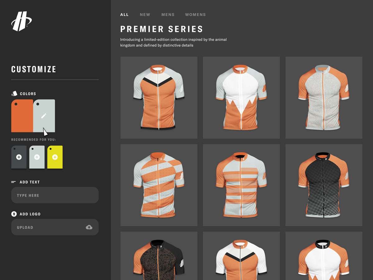 A view of the Hincapie Custom Kit Designer that shows intelligent color recommendations to match your primary color