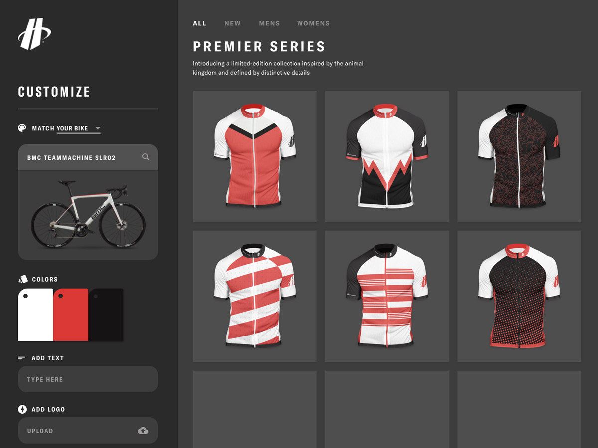 A view of the Hincapie Custom Kit Designer that shows a color palette being derived from your bike