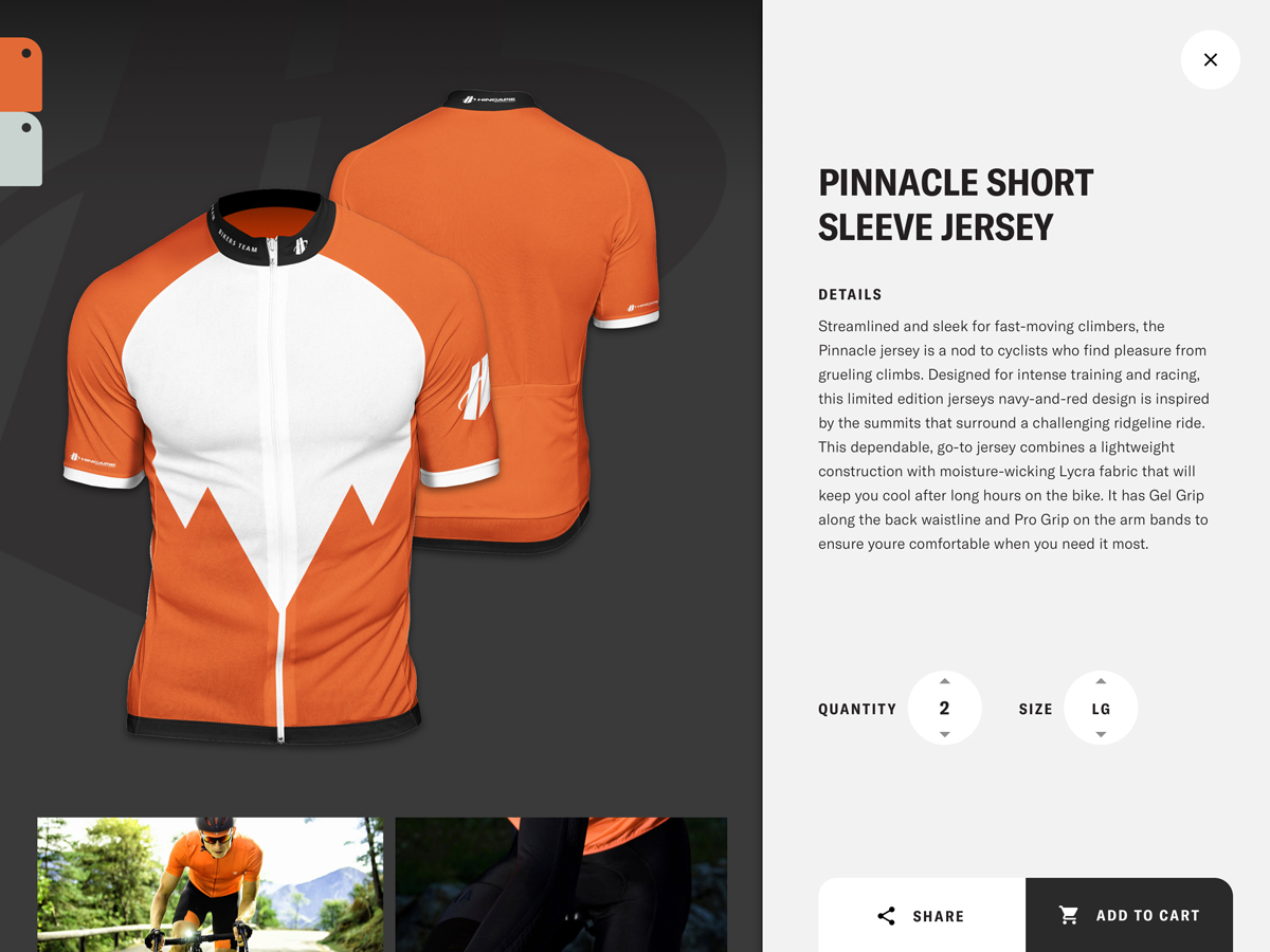 A view of the Hincapie Custom Kit Designer that shows a preview of the kit you've just designed