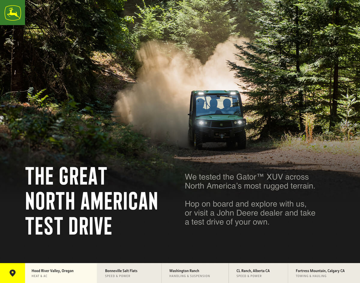 The top portion of a landing page for the John Deere Great North American Test Drive