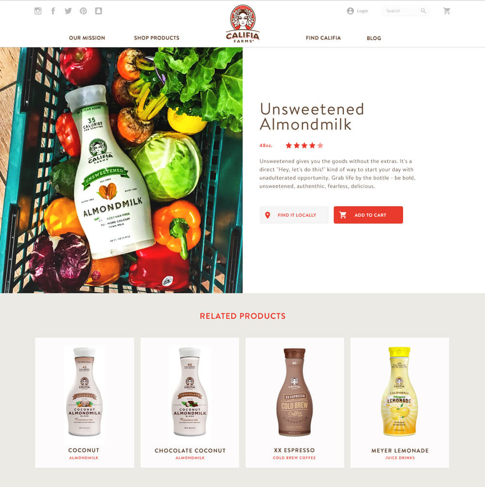 A product detail view of the Califia website