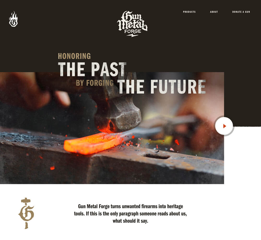 The homepage of the Gun Metal Forge website